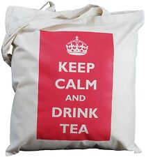 Keep CALM AND DRINK TEA-Cotone Naturale Borsa A Tracolla-Borsa Tote Manico Lungo