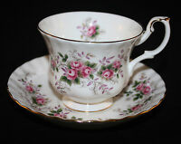ROYAL ALBERT, ENGLAND LAVENDER ROSE  CUP AND SAUCER, MINT