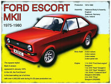 FORD ESCORT MK 2 VINTAGE CLASSIC CAR 1975-80 POSTER STYLE METAL WALL GARAGE SIGN