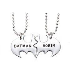 *Uk* 925 Silver Plt 'Batman Robin' Best Friends Pendant Necklace Dark Knight