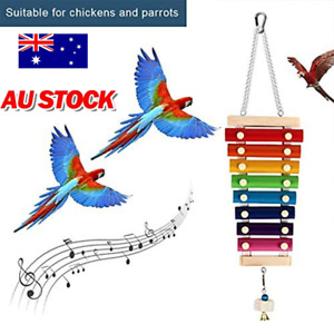 Pet Bird Chicken Parrot Poultry Gnaw String Toys Xylophone Toy With 8 Metal Keys