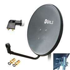 80 cm HD SAT Anlage Digitale Twin LNB 2 Teilnehmer Schüssel Antenne Spiegel 4K G