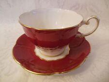 PARAGON BONE CHINA TEA CUP & SAUCER SET BURGUNDY RED & WHITE ENGLAND