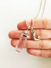Clear Quartz Point Necklace Crescent Moon Charm Pendant Crystal Silver Gypsy NEW