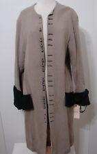 Victorian Revolutionary Tail Coat Beige Burlap Wool Bell Sleeve Screen Worn 44