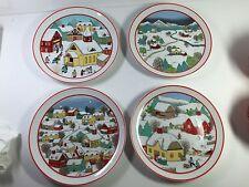 "4 Vintage Winter Scene Plates - Made In Japan- 7-1/2"""