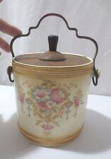 Antique Crown Devon Fieldings Blushware wood lid biscuit cookie jar ca 1912 Don
