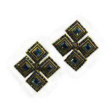 Square Drop Dangle Earrings Costume Jewelry Sapphire Blue Crystal Gold Tone Gift