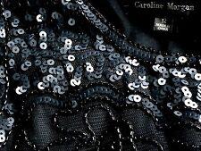 CAROLINE MORGAN SequinEmbellishedBlackTulleParty Size12