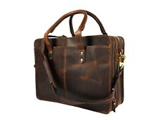 "Genuine Leather Briefcase Messenger Bag 17"" Laptop Satchel Office Shoulder Bags"