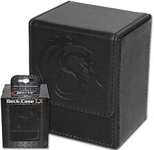 Black Leatherette Deck Box MTG Protector  Magnetic Closure  80 Card Storage