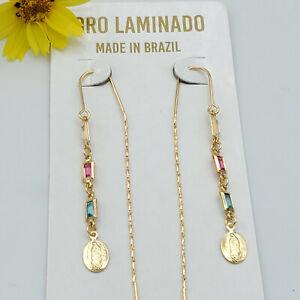 Thread Slide Gold Plated Earrings. Religious. Oro Laminado.