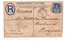 BG166 1890 GB London Minories REGISTERED Cover GERMANY Bremen