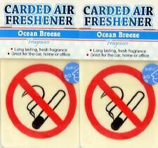 2 x NO SMOKING Car Air Freshener Hang Ocean Breeze Fragrance Sign Odour Freshner