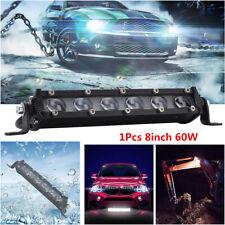 6D Single Row 8 inch 60W CREE LED Work Light Bar Off road Spot Beam Fog 12V/24V