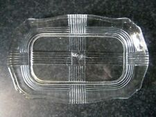 VINTAGE DEPRESSION GLASS RECTANGULAR PLATE or BUTTER DISH BASE Art Deco Ribs