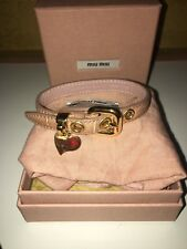 Miu Miu Dusky Pink Leather Bracelet with Gold Heart Charm