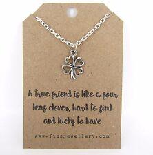 Veri amici sono come una collana di quattro Foglia Trifoglio messaggio CARD Amicizia Regalo