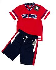 Mens 2-Piece THE DONS Outfit Embossed V-Jersey Shirt+Track Shorts Set (4 LEFT)