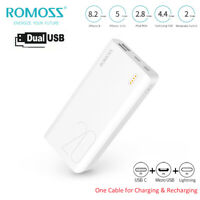 ROMOSS 20000mAh Portable Charger Power Bank Dual-USB External Battery Backup LED