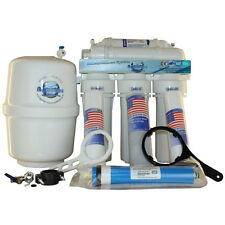 5-stufige AQUINTOS Osmoseanlage 1 Wege Wasserhahn 8 L GFK Drucktank Permeatpumpe