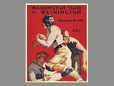 Classic WASHINGTON HUSKIES FOOTBALL 1936 Vintage Program Cover WALL POSTER