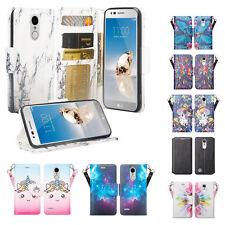 LG Phoenix 4 Cute Wallet Phone Flip Phone Case for Girls Women with Kickstand