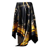 """Women's Black&Gold Print Hijab Scarf Silk-Satin Square Head Shawl Scarfs 35""""*35"""""""