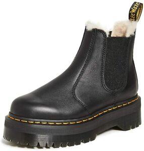 Dr. Martens 2976 QUAD FL Women's Leather Faux Fur Lined Chelsea Boots 25635001