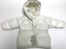 Armani Baby Girls DUCK DOWN LARGE LOGO BUTTON HOODED JACKET Sz 12M RTL $275 Q392