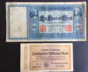 **** Germany Banknotes - 100 Marks (1910) & 200 Million Marks (1923) ****