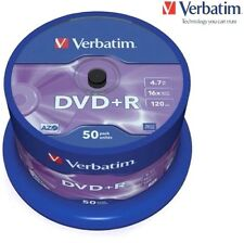Verbatim DVD+R 4.7GB 16x Speed 120min Recordable DVD Discs Pack 50