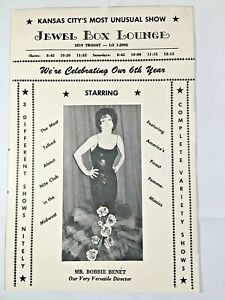 VINTAGE RARE? Jewel Box Female Impersonator Lounge Kansas City Program - COOL!