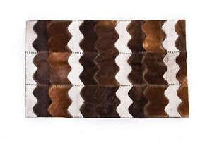 Aydin Mosaic Cowhide Patchwork Area Rug Handmade Brown White 4'0''X6'4''