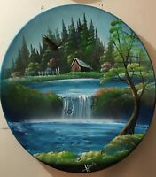 Original Cabin Painting Acrylic on Metal by Alfonso waterfall landscape