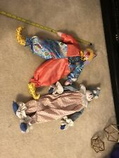 Two! Vintage Clown Dolls One Homemade Colorful Circus Patterns Pointed Shoes