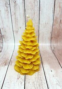 Handmade 100% Natural Bees Wax Spruce Christmas Xmas Tree Candles -  3 Pcs