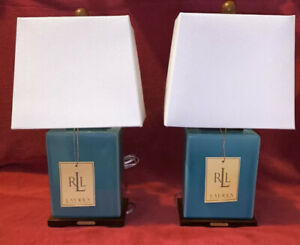 2 Ralph Lauren Teal Blue Crackled Porcelain Table Lamp & Shade New w/ Tag