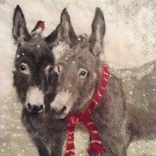 paper napkins decoupage x 2 Christmas donkeys  25cm