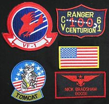 TOP GUN GOOSE NICK BRADSHAW US NAVY NAME TAG FLIGHT JACKET IRON ON 5 PATCH SET