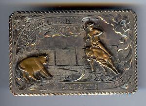 RODEO VINTAGE WESTERN STERLING GOLD JOSEPHINE COUNTY SHERIFFS POSSE BELT BUCKLE