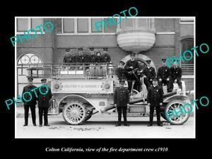 OLD 8x6 HISTORIC PHOTO OF COLTON CALIFORNIA THE FIRE DEPARTMENT CREW c1910