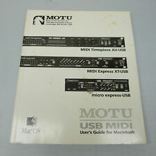 MOTU USB MIDI USER'S GUIDE FOR MAC OS, SOFTCOVER, GOOD CONDITION (B36)