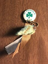 Vintage Button Pin Ribbon St Patrick's Day Keychain Lucky Rabbit's Foot