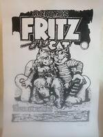 Unikat Mooseart Gemälde Comic Fritz the Cat Acryl auf Papier 42x59cm Original