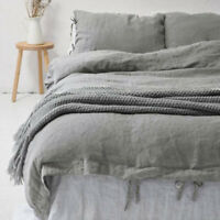 100% Natural Cotton Linen Duvet Cover Lace Up Bedding Twin/Queen/King 10Color