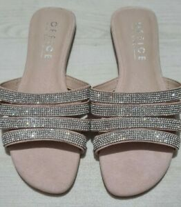 Womens Silver Diamante Office Sandals Size 4