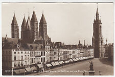 BELGIUM - Tournai - La Grand Place - Le Beffroi - c1910s era Real Photo postcard