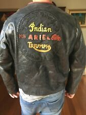MENS INDIAN ARIEL TRIUMPH MOTORCYCLE LEATHER JACKET SIZE XL