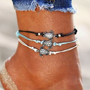Multiple Layer Set Of Three Boho Turtle Anklets by TinkerBoo™